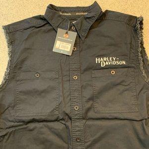 Harley Davidson Cut Off Button Shirt Black
